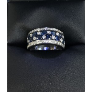 LeVian White Gold with Sapphire & Diamond Ring Size 6.5