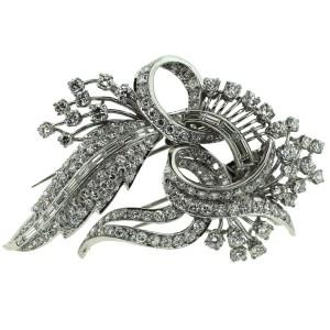 Platinum with 6.5ctw. Diamond Double Brooch
