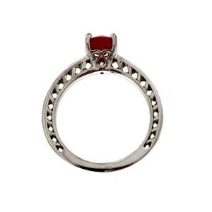 Ritani 18k White Gold Lattice Garnet Micropave .11ctw Diamond Ring Size 6.5