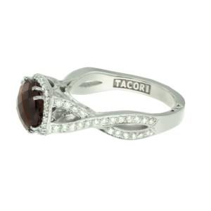 Tacori 18K White Gold Smoky Quartz .52ctw Diamond Ring Size 6.25