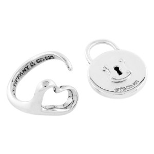 Tiffany & Co. 925 Sterling Silver Elsa Peretti Open Heart Lock Bundle Ring and Pendant Set Size 6