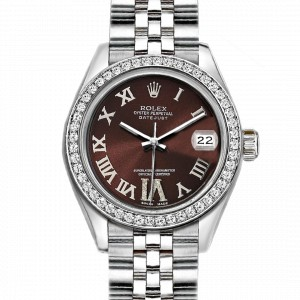 Rolex Datejust Stainless Steel with Custom Bezel and Dark Brown Dial 36mm Mens Watch