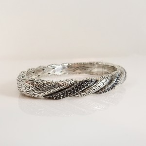 John Hardy Classic Chain Hinged Bangle Sterling Silver Black Sapphire
