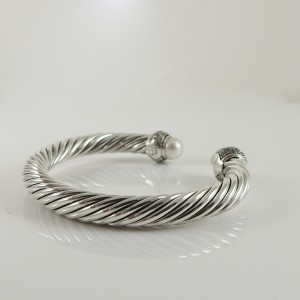 David Yurman 925 Sterling Silver Cultured Moonlight Pearl & 1.38tcw Diamond Bracelet