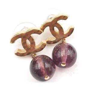 Chanel CC Gold Tone Metal Plum Stone Bead Dangle Piercing Earrings