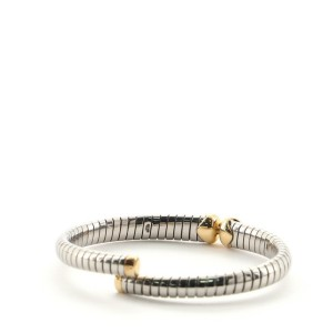 Bvlgari Tubogas Hearts Open Flex Bangle Bracelet Stainless Steel with 18K Yellow Gold