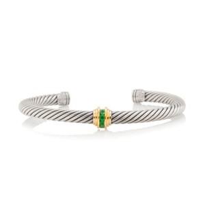 David Yurman Sterling Silver 14k Yellow Gold Emerald Cable Clics Bracelet