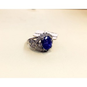 18K White Gold Corundum Sapphire & 6.46ct Diamond Ring Size 6.75