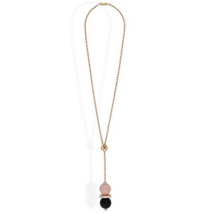 Cartier 18K Rose Gold Pink Opal Onyx Diamond Evasions Joaillieres Lariat Necklace
