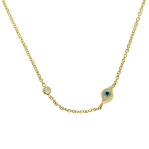 Sydney Evan 14K Yellow Gold Diamond & Turquoise Enamel Evil Eye Necklace
