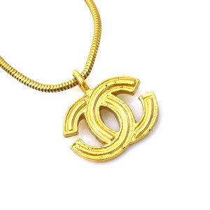 Chanel Gold Tone Metal Coco Mark Necklace