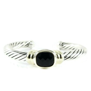David Yurman Sterling Silver 14K Yellow Gold 7mm Black Onyx Noblesse Bracelet