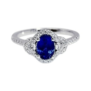 18K White Gold 1.14ct Oval Shape Blue Sapphire and 0.41ctw. Diamonds Ring Size 5.5