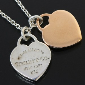 Tiffany & Co 925 Silver & Metal Double Heart Necklace Sterling