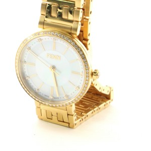 Fendi Forever Fendi Round Quartz Watch Plated Stainless Steel with Diamonds and Mother of Pearl 29