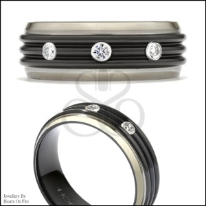 Hearts on Fire Black and  White Titanium 0.20ct Diamond Tri-Dome Band Ring Size 8