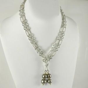 "David Yurman Sterling Silver 18K Yellow Gold 40"" Tahitian Pearl Figaro Chain Lariat Necklace"
