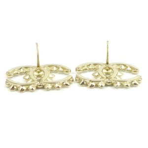 CHANEL Gold-tone Coco Mark Logo Pierced Earrings CHAT-42