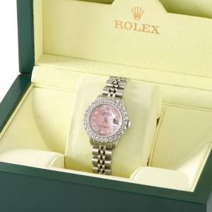 Rolex Datejust Steel 26mm Jubilee Watch 2CT Diamond Bezel / Vibrant Pink Dial