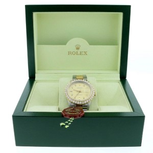 Rolex Datejust 2-Tone 18K Gold/SS 36mm Automatic Oyster Watch with Diamond Dial & 2.80Ct Bezel