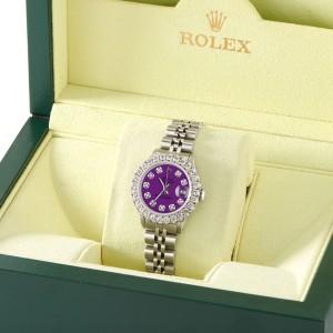Rolex Datejust Steel 26mm Jubilee Watch 2CT Diamond Bezel / Dark Purple Dial
