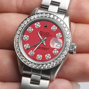 Rolex Datejust Ladies Automatic Stainless Steel 26mm Oyster Watch w/Raspberry Punch Dial & Diamond Bezel
