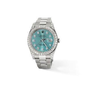 Rolex Datejust II Steel 41mm Watch 4.5CT Diamond Bezel/Lugs/Ice Blue Dial Box Papers