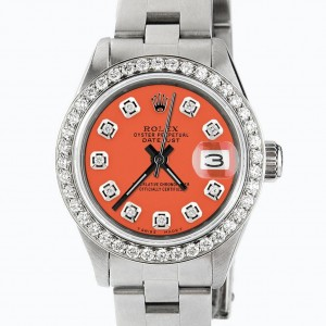 Rolex Datejust Ladies Automatic Stainless Steel 26mm Oyster Watch w/Tiger Orange Dial & Diamond Bezel