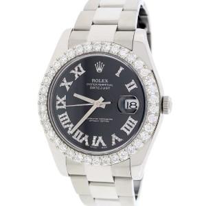 Rolex Datejust II 41MM Automatic Mens Oyster Watch 116300 w/Black Roman Diamond Dial & 4.0Ct Bezel