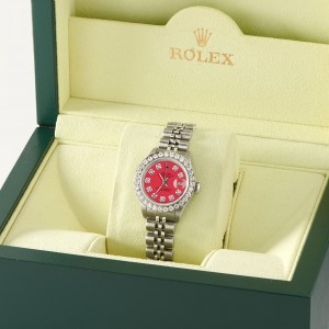 Rolex Datejust Steel 26mm Jubilee Watch Scarlet Red 1.3CT Diamond Bezel & Dial