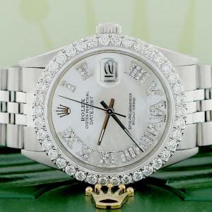 Rolex Datejust 36MM Automatic Stainless Steel Jubilee Mens Watch w/MOP Roman Diamond Dial & 2.7Ct Bezel