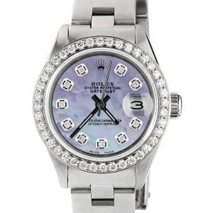 Rolex Datejust Ladies Automatic Stainless Steel 26mm Oyster Watch w/Aqua Purple MOP Dial & Diamond Bezel