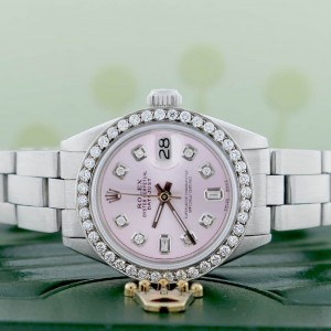 Rolex Datejust Ladies Automatic Stainless Steel 26mm Oyster Watch with Pink Diamond Dial & Bezel