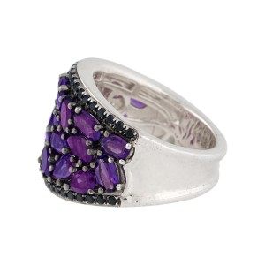 Charles Krypell Sterling Silver Mosaic Amethyst And Black Sapphire Saddle Ring Size 6.5
