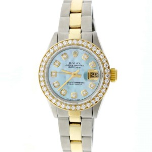 Rolex Datejust Ladies 2-Tone Gold/Steel 26MM Automatic Oyster Watch w/Sky Blue MOP Diamond Dial & 0.85CT Bezel