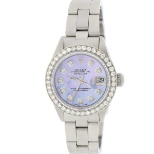 Rolex Datejust Ladies Automatic Stainless Steel 26mm Oyster Watch with Aqua Purple MOP Diamond Dial & Bezel