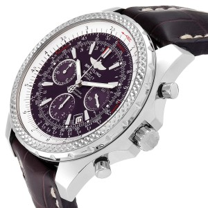 Breitling Bentley Purple Dial Chronograph Steel Mens Watch A25362