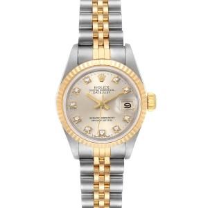 Rolex Datejust Steel Yellow Gold Silver Diamond Dial Ladies Watch 69173