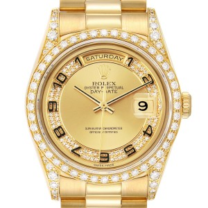Rolex President Day-Date Yellow Gold Myriad Diamond Mens Watch 18388