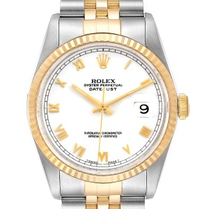 Rolex Datejust Steel Yellow Gold White Roman Dial Mens Watch 16233