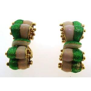 Tiffany & Co. Green & White Enamel 18 Yellow Gold Earrings