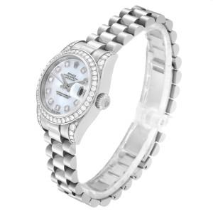 Rolex President Datejust Ladies White Gold MOP Diamond Lugs Watch 179159 Unworn