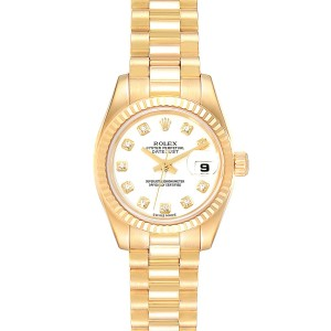 Rolex President Datejust Yellow Gold Diamond Ladies Watch 179178 Box