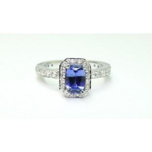 14K White Gold Blue Ceylon Sapphire Diamond Engagement Ring