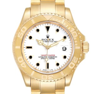 Rolex Yachtmaster 40mm Yellow Gold White Dial Mens Watch 16628