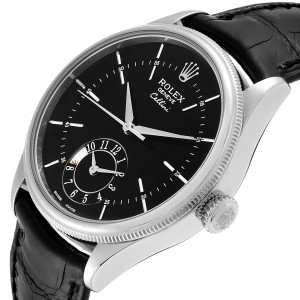 Rolex Cellini Dual Time White Gold Automatic Mens Watch 50529 Box Card