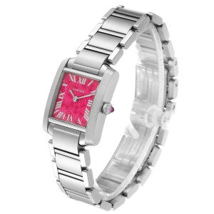Cartier Tank Francaise Raspberry Dial Limited Edition Watch W51030Q3