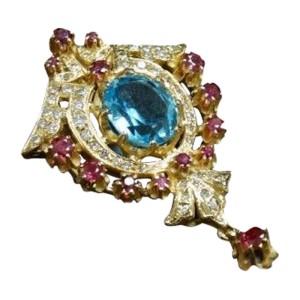14K Gold European Cut Diamond Ruby Blue Topaz Cocktail Pendant