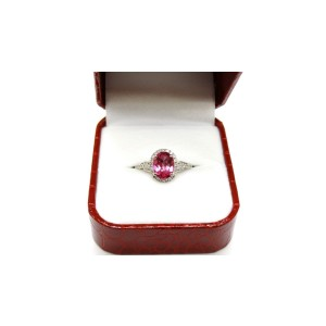14K White Gold Gem Pink Topaz And Diamond Cocktail Lady Ring