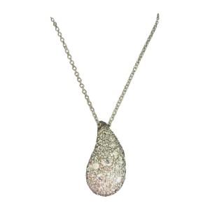 Tiffany & Co. Elsa Peretti Platinum XL Tear Drop Pave Diamond Necklace